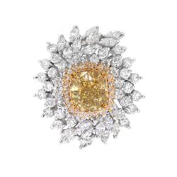 14KT Two Tone Gold Fancy Brownish Yellow 9.52ctw Diamond Ring