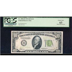 1934 $10 New York Federal Reserve Note PCGS 63