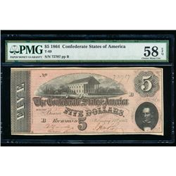 1864 $5 Confederate States of America Note PMG 58EPQ