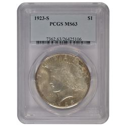 1923-S $1 Peace Silver Dollar Coin PCGS MS63