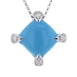 14KT White Gold 7.41ct Turquoise and Diamond Pendant with Chain