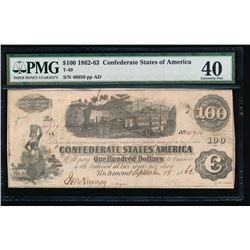 1862-63 $100 Confederate States of America Note PMG 40