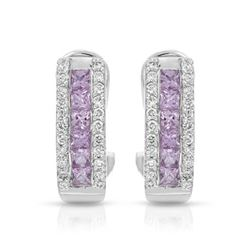 14KT White Gold 1.01ctw Pink Sapphire and Diamond Earrings