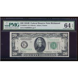 1934B $20 Richmond Federal Reserve Note PMG 64EPQ