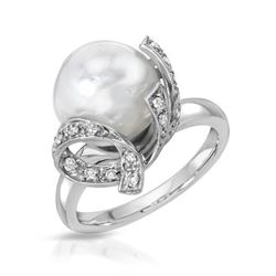 14KT White Gold 9.41ct Pearl and Diamond Ring