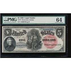 1880 $5 Legal Tender Note PMG 64
