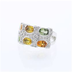 14KT White Gold 3.90ctw Multi Color Sapphire and Diamond Ring