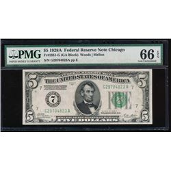 1928A $5 Chicago Federal Reserve Note PMG 66EPQ
