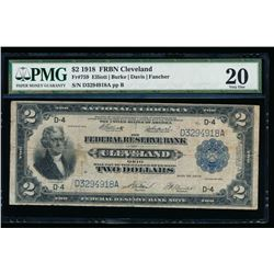 1918 $2 Cleveland Federal Reserve Bank Note PMG 20