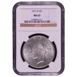 1927-D $1 Peace Silver Dollar Coin NGC MS63
