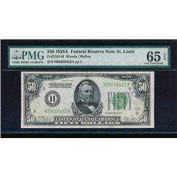 1928A $50 St. Louis Federal Reserve Note PMG 65EPQ