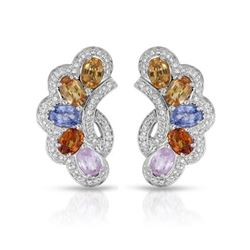 14KT White Gold 5.53ctw Multi Color Sapphire and Diamond Earrings