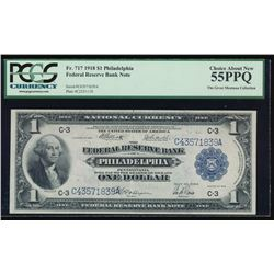 1918 $1 Large Philadelphia Federal Reserve Note PCGS 55PPQ