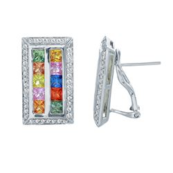 14KT White Gold 3.33ctw Multi Color Sapphire and Diamond Earrings