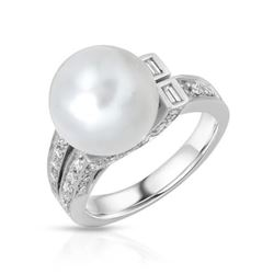 18KT White Gold 11.46ct Pearl and Diamond Ring