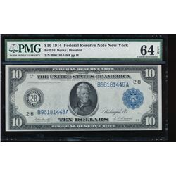 1914 $10 New York Federal Reserve Note PMG 64EPQ