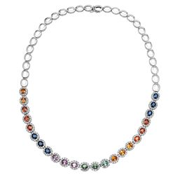 14KT White Gold 11.18ctw Multi Color Sapphire and Diamond Necklace