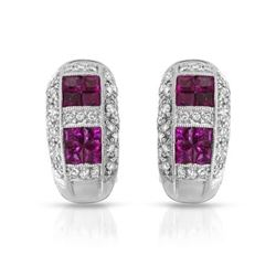 14KT White Gold 1.44ctw Ruby and Diamond Earrings