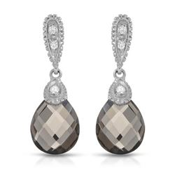 14KT White Gold 5.06ctw Smoky Topaz and Diamond Earrings