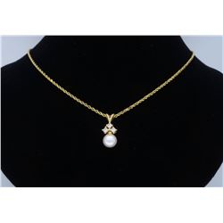 14KT Yellow Gold 8.1mm Pearl and Diamond Pendant with Chain