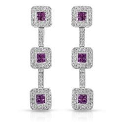 14KT White Gold 1.00ctw Ruby and Diamond Earrings