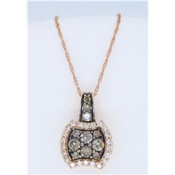 14KT Rose Gold 0.60ctw Diamond Pendant with Chain