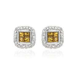 14KT White Gold 0.30ctw Yellow Sapphire and Diamond Earrings