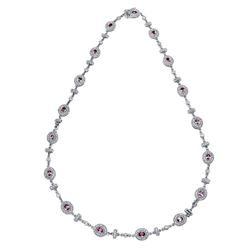 14KT White Gold 4.66ctw Pink Sapphire and Diamond Necklace