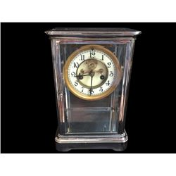 Late 19thc Nickel & Glass Waterbury Mantel Clock