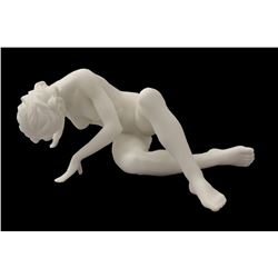 New Artistic Nude Female Statue Leaning On Hands & Crossed Knees White Porcelain