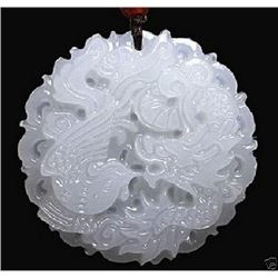 natural hand-carved Chinese jade pendant - dragon Phoenix Natural