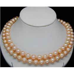 34 Inch AAA 9-10MM Pink SOUTH SEA PEARL NECKLACE 14K GOLD