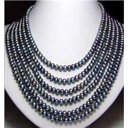 """Long 130"""" 7-8mm Black Akoya Cultured Pearl Necklace"""