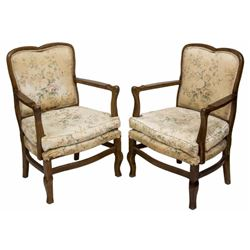 (2) French Upholstered Armchairs