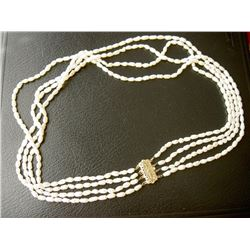 14K YELLOW GOLD LARGE CLASP 4-STRAND FRESHWATER OVAL WHITE PEARL NECKLACE-19""
