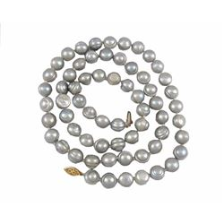 "Vintage 24"" Gray Baroque Pearl 14kt Gold Necklace"