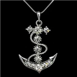 Smooth Sailing Anchor Necklace Pendant Jewelry 18k W Gp Austrian Crystal Clear