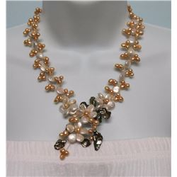 Vnk34 One 18.5 Inches Long Handcrafted Genuine Pearl Jewelry Art Design Necklace