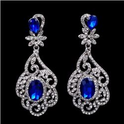 Rhodium Plated Blue Crystal Rhinestone Drop Dangle Chandelier Earrings