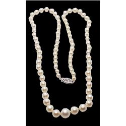 Vintage 14k White Gold Graduated Pearl Ladies Necklace
