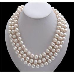 50inch 9-10mm South Sea White Baroque Pearl Necklace 14k Clasp A1