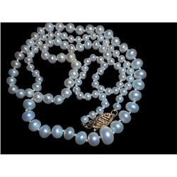 14K Gold White High quality Cultured Button Pearl Vintage NECKLACE Choker mint