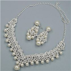 Silver Plated Pearl Crystal Necklace Earrings Bridal Wedding Jewelry Set 00841