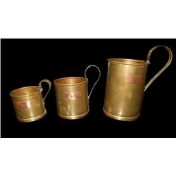 Trench Art Set of 3 Copper & Brass Tankards