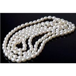 """35"""" Aaa 9-10mm South Sea Genuine White Oval Pearl Necklace 14k Clasp"""