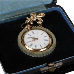 Yellow 14k gold lapel/ pendant watch with pearl on fleur de lis fob