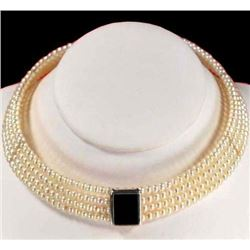"""Freshwater Pearl / Onyx Sterling Silver Necklace 16"""" W/ Gift B"""