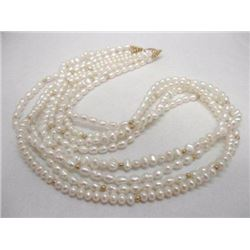 """14K Yellow Gold 4 Strand Freshwater Pearl Necklace 20"""""""