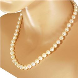 "White Freshwater Pearl Hand Knot 10k Gold Clasp Necklace 18""*"