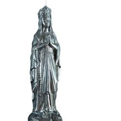 Antique 1920 French religious Statue open work Our Lady of Lourdes on a pedestal